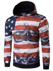 USA Flag Star Motorcycle Printed Long Sleeve Hoodie - RED