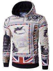 British Flag Printed Long Sleeve Patriotic Hoodie - COLORMIX XL