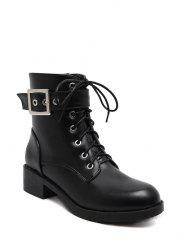 Eyelet Buckle Strap Chunky Heel Combat Boots - BLACK