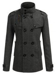 Stand Collar Epaulet Embellished Double Breasted Coat -