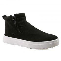 Casual Double Zips Suede Boots - BLACK