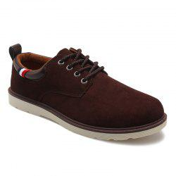 Suede Eyelet Casual Shoes - BROWN