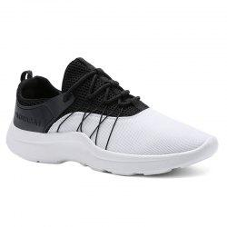 Lace Up Mesh Athletic Shoes - WHITE