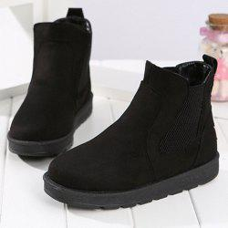 Ankle Suede Snow Boots - BLACK