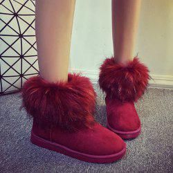 Fuzzy Suede Snow Boots - RED