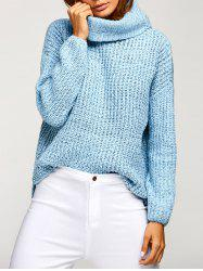 Cowl Neck Oversized Pullover Sweater - BLUE