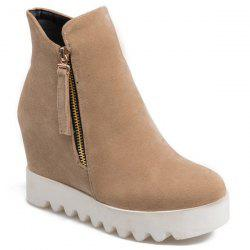 Platform Hidden Wedge Suede Ankle Boots
