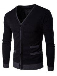 V-Neck Single-Breasted Selvedge Spliced Knitting Cardigan - BLACK