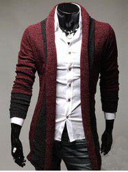 Color Block Panel Longline Knitting Cardigan - WINE RED