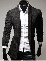 Turndown Collar Slimming Knitting Cardigan - DEEP GRAY
