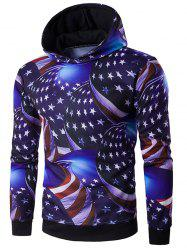 Hooded 3D Star and Stripe Print Hoodie