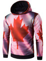 Hooded 3D Maple Leaf Print Hoodie