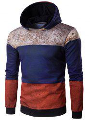 Hooded Color Block Spliced Rust Print Hoodie