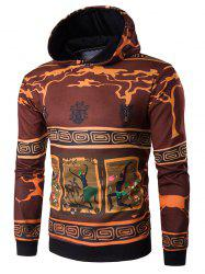 Hooded 3D Ethnic Style Cartoon Print Hoodie - COLORMIX 2XL