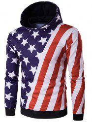 Hooded 3D Stars and Oblique Stripes Print Hoodie - COLORMIX