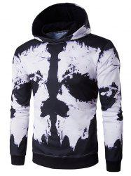 Hooded Skull Face Print Hoodie - WHITE AND BLACK