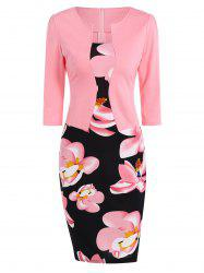 Floral Sheath Pencil Work Dress - PINK 4XL
