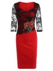 Rose Embroidered Lace Spliced Pencil Dress - RED