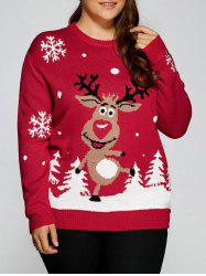 Plus Size Snowflake Fawn Christmas Sweater - RED 5XL