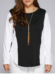Plus Size Color Block Long Sleeve Top