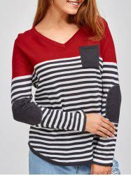 V Neck Long Sleeve Striped Pullover Sweater - RED