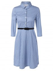 Polka Dot Knee Length Flare Dress