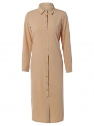 Casual Long Sleeve Maxi Shirt Dress -