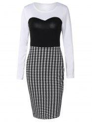 Long Sleeve Houndstooth Midi Sheath Dress - BLACK WHITE XL