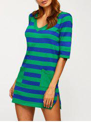 V Neck Pocket Striped Jumper Dress