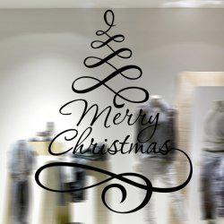 Ribbon Merry Christmas Removable Glass Window Wall Stickers