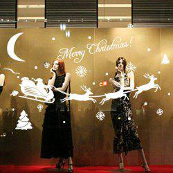 Removable Merry Christmas Deer Design Glass Showcase Wall Stickers