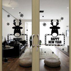 Happy New Year Deer Pattern Glass Window Door Wall Stickers - BLACK