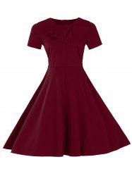 Retro Slant Button Ruched Flare Dress