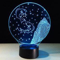 3D Visual 7 Color Change Pisces Shape Touching LED Night Light - COLORFUL