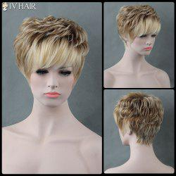 Short Fluffy Full Bang Curly Mixed Color Siv Human Hair Wig - COLORMIX