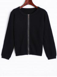 Puff Sleeve Zip Up Cardigan