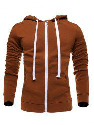 Zip-Up Hooded Drawstring Hoodie
