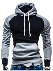 Hooded Color Block Splicing Design Drawstring Black and Grey Hoodie - BLACK AND GREY 2XL