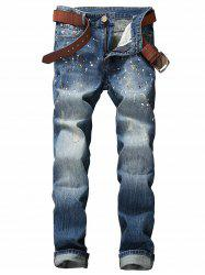 Paint Splatter Print Scratched Zipper Fly Jeans - BLUE 33