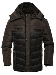 Multi Pocket Zippered Hooded Padded Jacket -