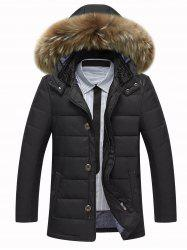 Zippered Detachable Faux Fur Hood Padded Jacket - BLACK M