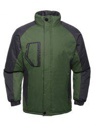 Stand Collar Texture Two Tone Padded Jacket -