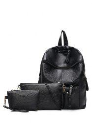 Textured Leather Pockets Zippers Backpack