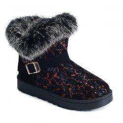 Color Block Belt Buckle Snow Boots