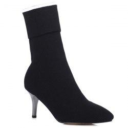 Stiletto Heel Knitting Mid Calf Boots