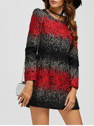 Embroidered Color Block Woolen Dress