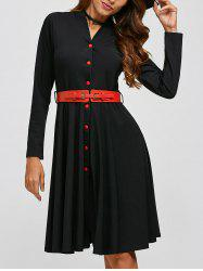Single-Breasted Belted Dress - BLACK XL