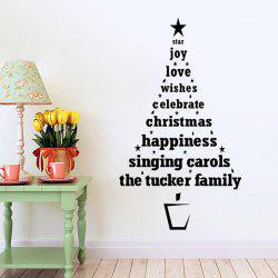 Multicolor Christmas Wishes Tree Glass Window Wall Stickers For Nursery