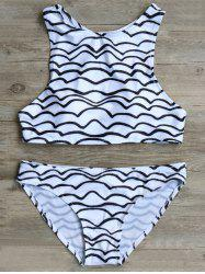 High Neck Wavy Line Print Cut Out Bikini Set