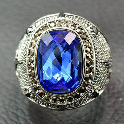 Retro Faux Crystal Rhinestone Ring - BLUE